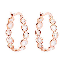 Gaia Rose Gold-Plated Cubic Zirconia Hoop Earrings - Product number 1479792