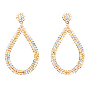 Gaia Silver Gold-Plated Cubic Zirconia Teardrop Earrings - Product number 1479814
