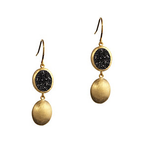 Gaia Silver Gold-Plated Drusy Quartz Drop Earrings - Product number 1479938