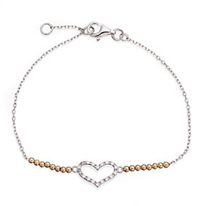 Gaia Sterling Silver & Gold-Plated Stone Set Heart Bracelet - Product number 1480006