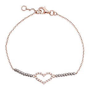 Gaia Silver & Rose Gold-Plated Stone Set Heart Bracelet - Product number 1480014