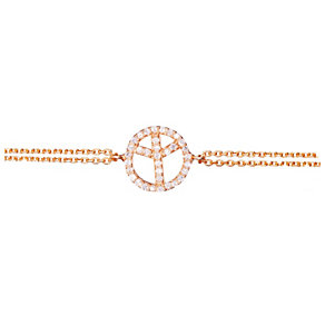 Gaia Rose Gold-Plated Cubic Zirconia Peace Sign Bracelet - Product number 1480138