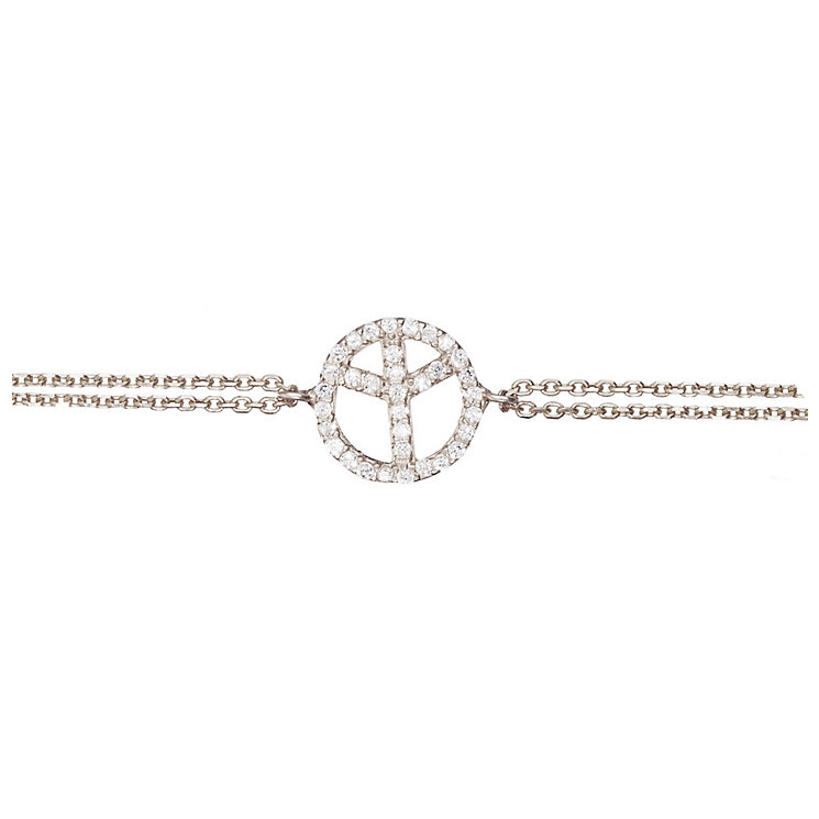 Gaia Sterling Silver Cubic Zirconia Peace Sign Bracelet - Product number 1480146
