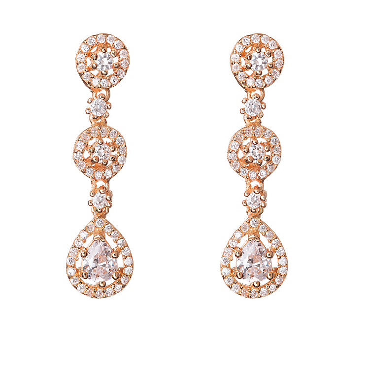Gaia Rose Gold-Plated Three Drop Cubic Zirconia Earrings - Product number 1480189