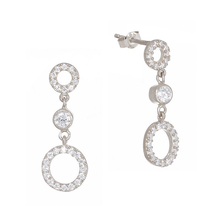 Gaia Sterling Silver Open Circle Drop Earrings - Product number 1480219