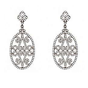 Gaia Sterling Silver & Cubic Zirconia Black Drop Earrings - Product number 1481681
