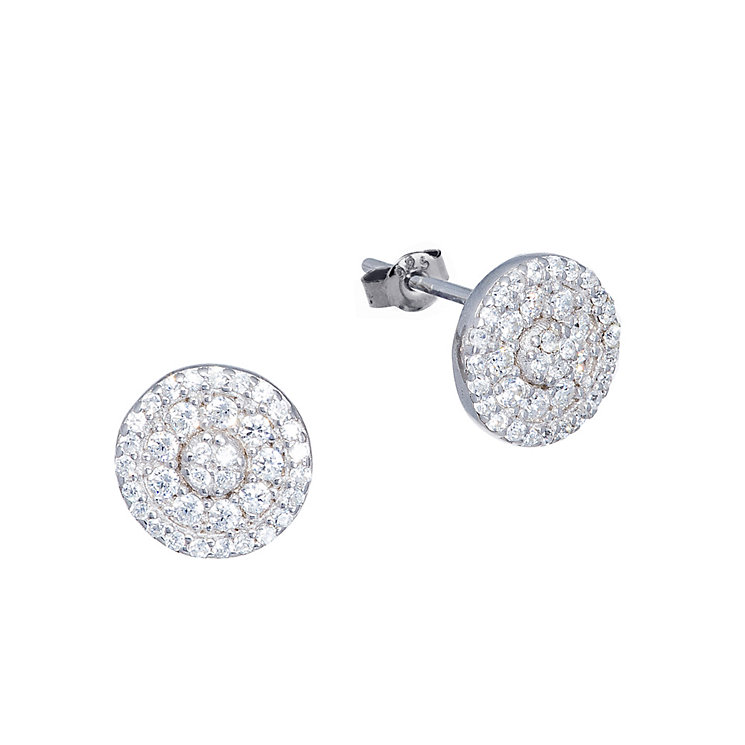 Gaia Sterling Silver Pave Cubic Zirconia Stud Earrings - Product number 1481703