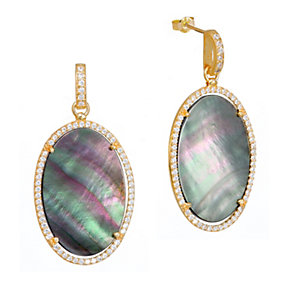 Gaia Gold-Plated Grey Mother Of Pearl Drop Earrings - Product number 1481711