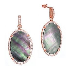Gaia Rose Gold-Plated Grey Mother Of Pearl Drop Earrings - Product number 1481738