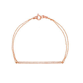 Gaia Silver Rose Gold Plated Cubic Zirconia Bar Bracelet - Product number 1481797