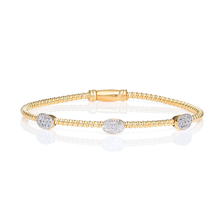 Gaia Gold-Plated Cubic Zirconia Oval Bangle - Product number 1481916