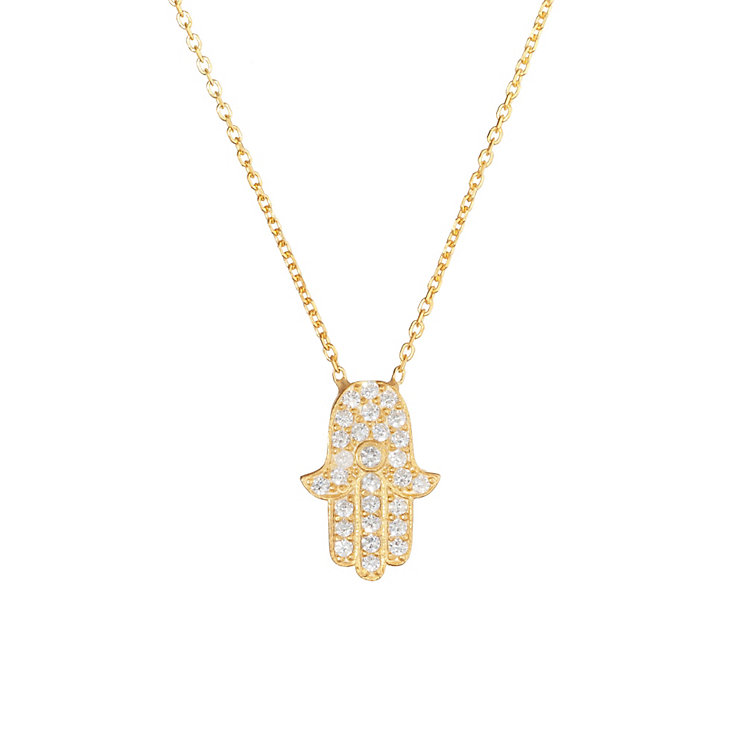 Gaia Gold-Plated Pave Cubic Zirconia Hamsa necklace - Product number 1482068