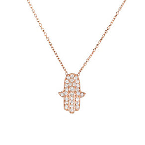 Gaia Rose Gold-Plated Pave Cubic Zirconia Hamsa necklace - Product number 1482084