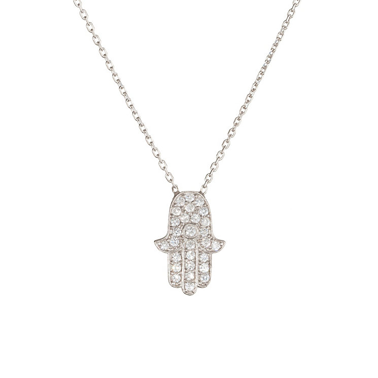 Gaia Sterling Silver Pave Cubic Zirconia Hamsa Pendant - Product number 1482106