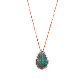 Gaia Rose Gold-Plated Grey Mother Of Pearl Teardrop Necklace - Product number 1482262