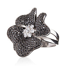 Gaia Sterling Silver Black Flower Ring Size L - Product number 1482777