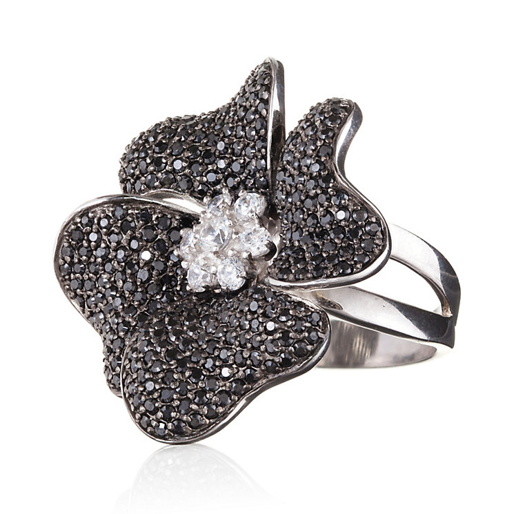 Gaia Sterling Silver Black Flower Ring Size N - Product number 1482785