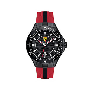 Ferrari men's black ion-plated red rubber strap watch - Product number 1483366