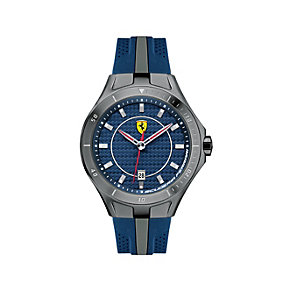 Ferrari men's black ion-plated blue rubber strap watch - Product number 1483374