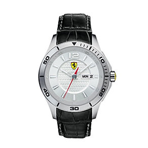 Ferrari men's stainless steel black leather strap watch - Product number 1483404