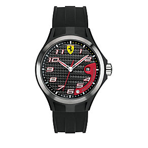 Ferrari men's ion-plated & steel black rubber strap watch - Product number 1483420