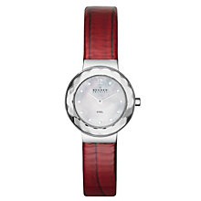 Skagen Ladies' Mother Of Pearl Dial Red Leather Strap Watch - Product number 1483862
