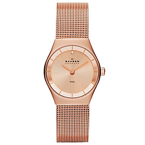 Skagen Ladies' Rose Gold-Plated Mesh Strap Watch - Product number 1483870