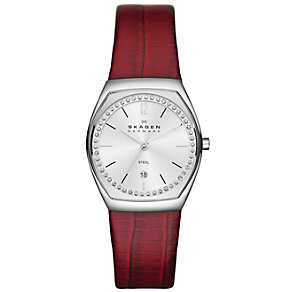Skagen Ladies' Crystal Set Red Leather Strap Watch - Product number 1483897