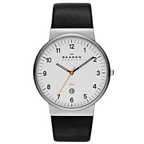 Skagen Men's White Dial Black Leather Strap Watch - Product number 1483900