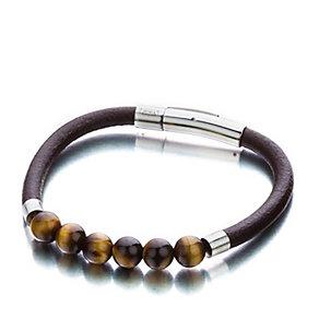 Shimla Luxury Link Brown Leather Tiger Eye Bead Bracelet - Product number 1484168