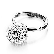 Shimla Clear Crystal Set Fireball Steel Ring Size N - Product number 1484443