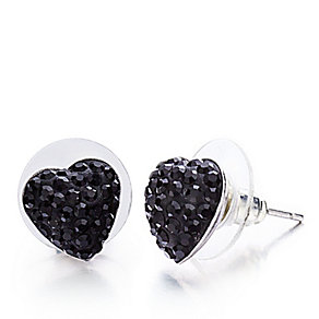 Shimla Jet Black Crystal Heart Stud Earrings - Product number 1484613