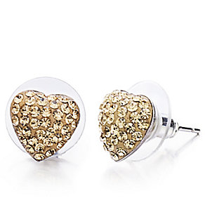 Shimla Jet Gold Tone Crystal Heart Stud Earrings - Product number 1484621