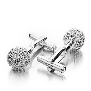 Shimla Clear Crystal Silver Tone Fireball Cufflinks - Product number 1484656