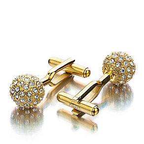 Shimla Clear Crystal Gold Tone Fireball Cufflinks - Product number 1484664