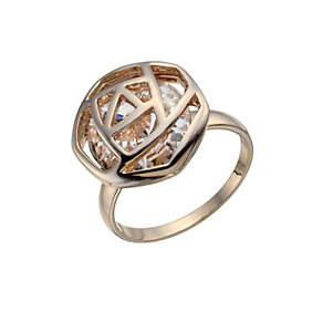 Rose Gold-Plated Hexagonal Crystal Ring Size L - Product number 1485245