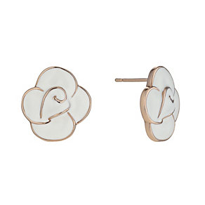 Rose Gold-Plated White Enamel Flower Stud Earrings - Product number 1485288