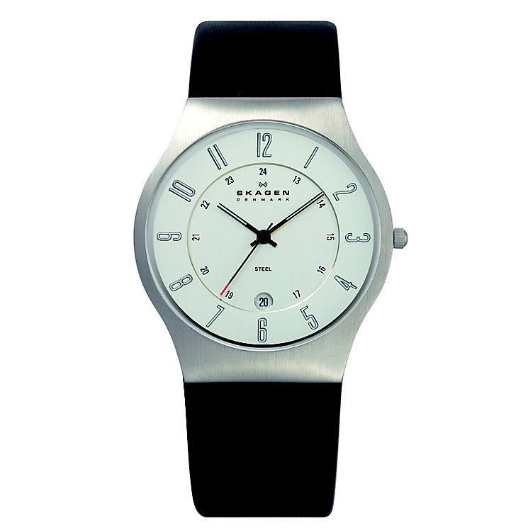 Skagen Men's White Dial Black Leather Strap Watch - Product number 1485385