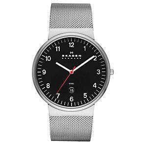 Skagen Men's Black Dial Stainless Steel Mesh Strap Watch - Product number 1485393