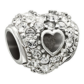 Chamilia Sterling Silver Pave Crystal Heart Bead - Product number 1485571