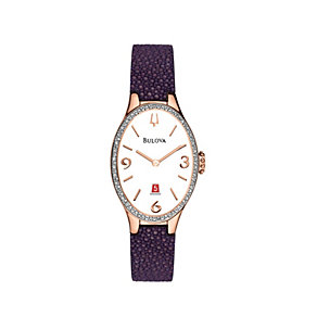 Bulova Diamond Gallery 72 Ladies' Purple Strap Watch - Product number 1487876