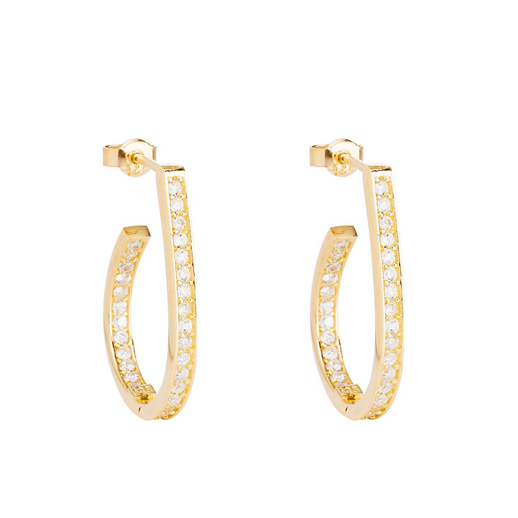 Gaia Gold-Plated Cubic Zirconia Hoop Earrings - Product number 1488317