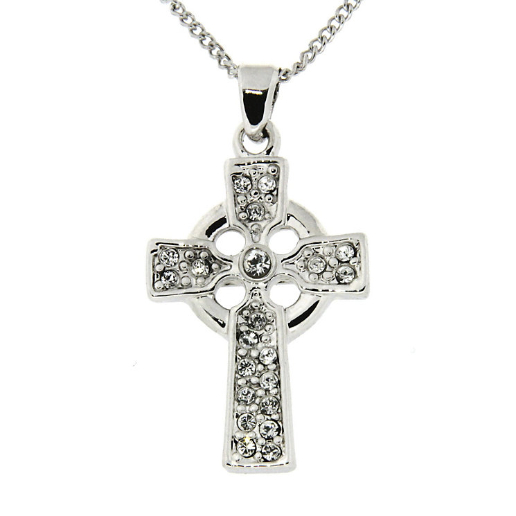 Cailin Sterling Silver Cubic Zirconia Celtic Cross Pendant - Product number 1490303