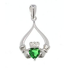 Cailin Sterling Silver Green Cubic Zirconia Claddagh Pendant - Product number 1490338
