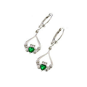 Cailin Silver Green Cubic Zirconia Claddagh Drop Earrings - Product number 1490435