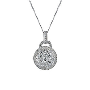 18ct white gold one carat diamond cluster pendant - Product number 1490958
