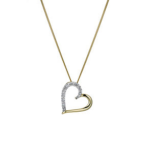 9ct yellow gold diamond heart pendant - Product number 1490966
