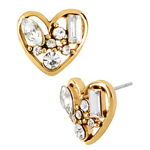 Betsey Johnson Gold-Plated White Crystal Heart Stud Earrings - Product number 1492802