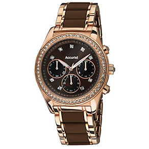 Accurist Ladies' Rose Gold Tone & Brown Bracelet Watch - Product number 1492837