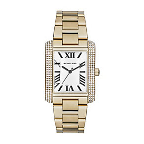 Michael Kors ladies' rectangle gold-plated bracelet watch - Product number 1494104